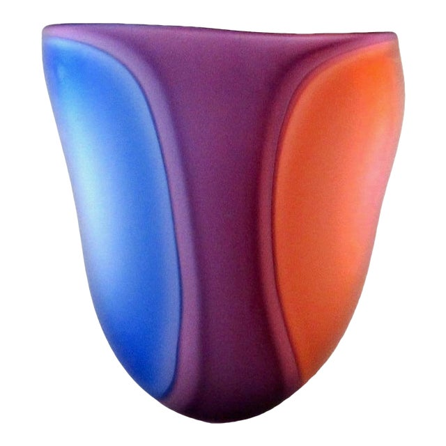 Beautiful Samphire Frosted Glass Vase - Cobalt, Wine, and Red For Sale