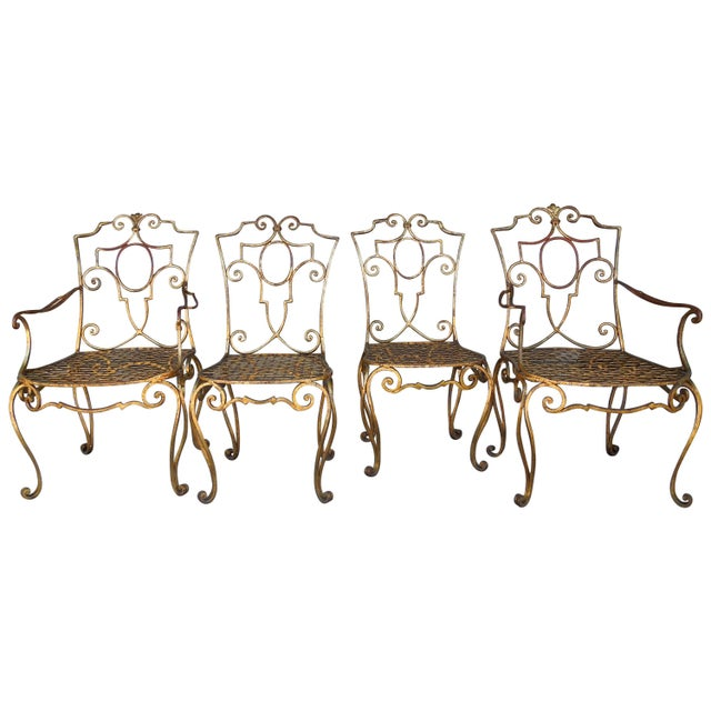 French Moderne Gold Gilt Iron Chairs by Jean-Charles Moreux - Set of 4 For Sale - Image 10 of 10