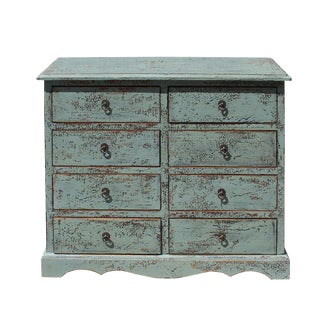 Solid Wood Distressed Crackle Gray 8 Drawers Dresser Cabinet For Sale