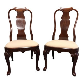 Solid Mahogany Queen Anne Dining Side Chairs - Pair 2 For Sale
