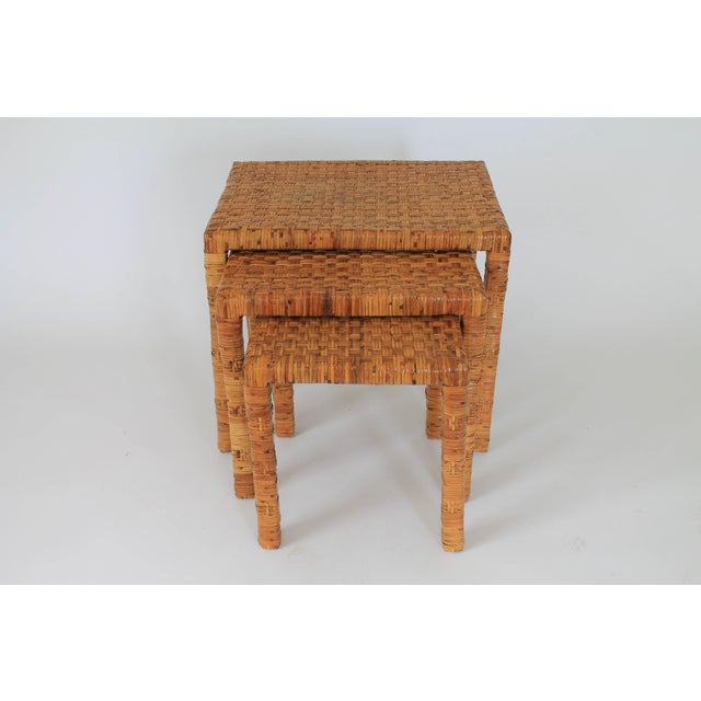 Mid-Century Modern Boho Rattan Wrapped Nesting Tables S/3 For Sale - Image 3 of 10