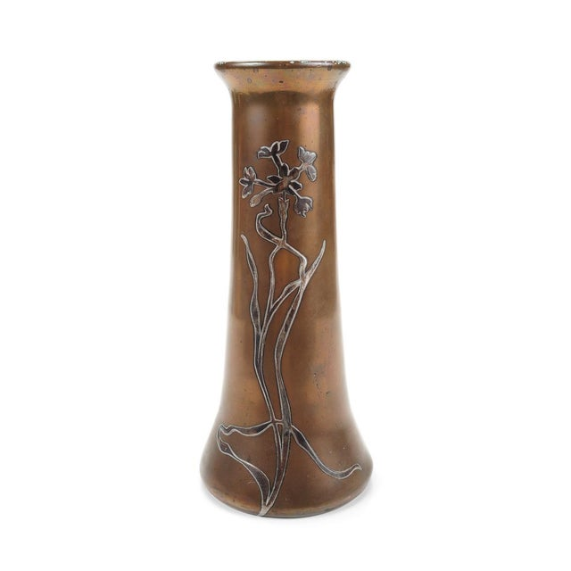 Heintz C.1900s Sterling on Bronze Vase For Sale