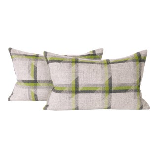 Lime Plaid Lambswool Lumbar Pillow Cover (Pair) For Sale
