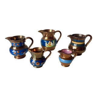 Antique English Luster Ware Cream Pitchers - Set of 5 For Sale