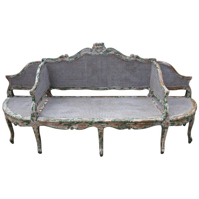 19th C. Painted Carved Wood & Cane 3-Section Sofa For Sale - Image 4 of 4