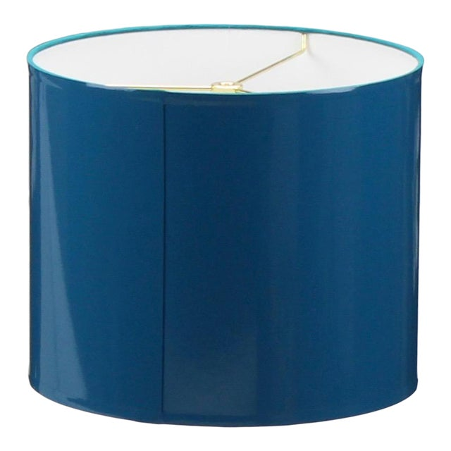Large Teal High Gloss Drum Lampshade For Sale