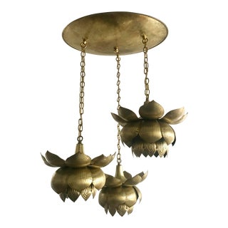 Brass Lotus Chandelier by Feldman Lighting For Sale