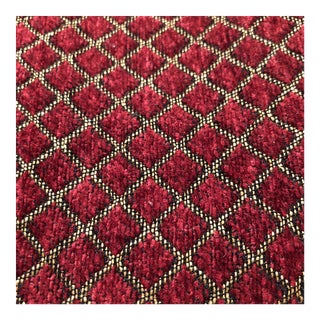 Burgundy and Gold Velvet Fabric - 1.5 Yards For Sale