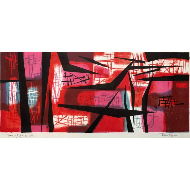 """1940s Signed Jerry Opper Bay Area Artist Abstract Print """"Frame of Reference"""" For Sale - Image 5 of 10"""