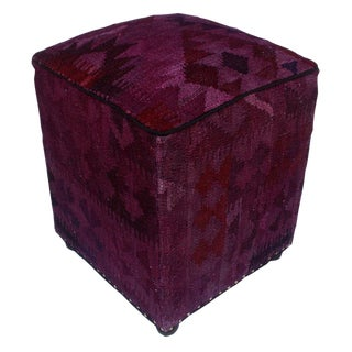 Arshs Domingo Purple/Drk. Gray Kilim Upholstered Handmade Ottoman For Sale