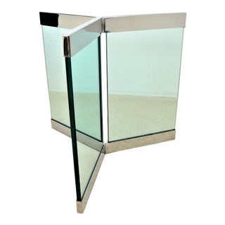 Pace Glass and Chrome Dining Table Base Designed by Leon Rosen - 1970s For Sale
