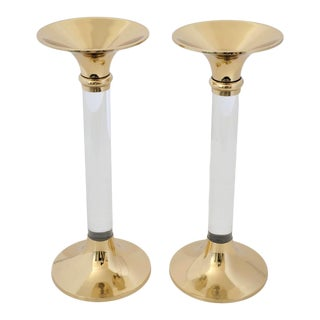 Vintage Candle Holders Lucite and Polished Brass Candlesticks - a Pair For Sale