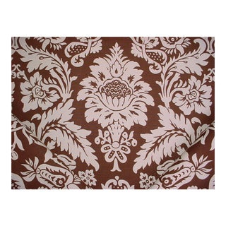 Lee Jofa Giara Cocoa Espresso Brown Printed Linen Upholstery Fabric - 17 Yards For Sale