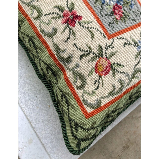 English Needlepoint Fruit Pillow For Sale - Image 3 of 5