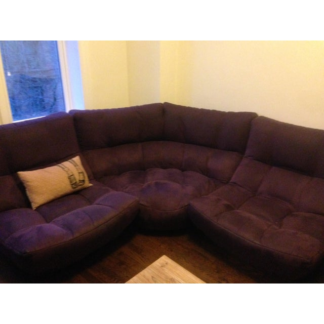 4-Piece Curved Sectional Sofa For Sale - Image 5 of 9