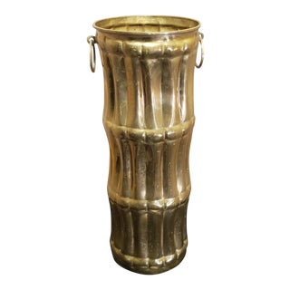 Vintage French Hollywood Regency Brass Faux Bamboo Umbrella Stand For Sale