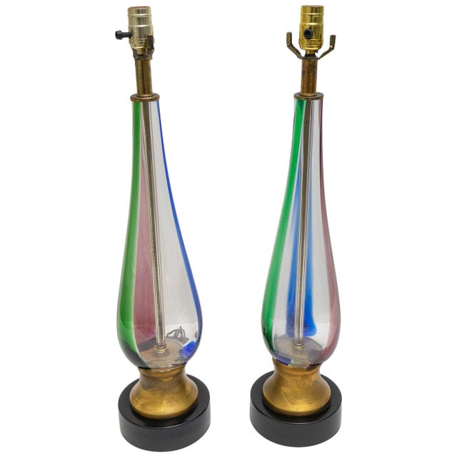 Blue Vintage Murano Glass Table Lamps - Blue Pink Green Stripes - a Pair For Sale - Image 8 of 8