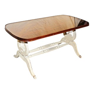1940s Hepplewhite Lyre-Based Coffee Table For Sale