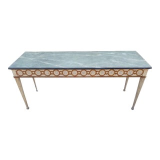 White & Gold With Faux Marble Top Console