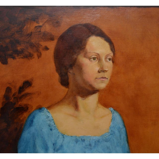Canvas Vintage Oil Portrait of a Young Mother and Daughter C.1979 For Sale - Image 7 of 9