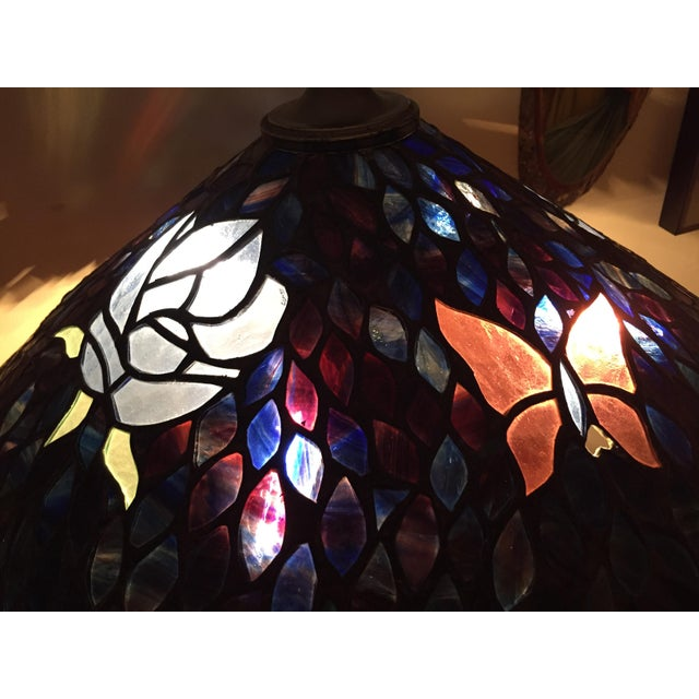 Artist Signed Butterfly Lotus Stained Glass Lamp - Image 7 of 11