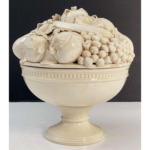 Cream Italian Creamware Tureen or Bowl on Pedestal With Mixed Fruit Topiary Top For Sale - Image 8 of 13