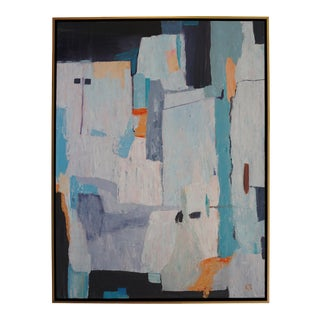 """""""Hill Town"""" Contemporary Abstract Acrylic Painting, Framed For Sale"""