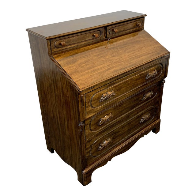 Davis Cabinet Lillian Russell Solid Walnut Victorian Slant Drop Front Desk 2 For Sale