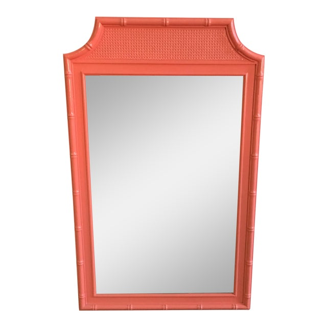 Vintage Coral Faux Bamboo Pagoda Style Mirror For Sale