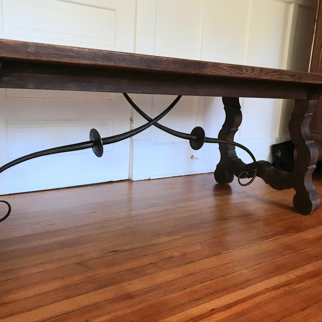 19th Century Spanish Trestle Farm Table For Sale - Image 4 of 8
