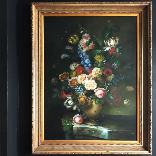 Late 20th Century Nancy Lee Floral Still Life Oil on Canvas Painting For Sale - Image 11 of 11