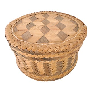 1970s Woven Lidded Basket For Sale