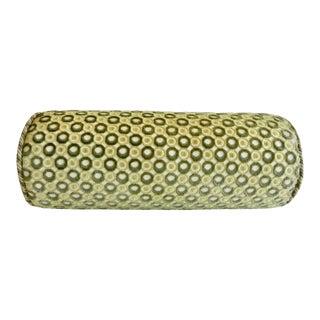 Green Circles Velvet Bolster Pillow For Sale