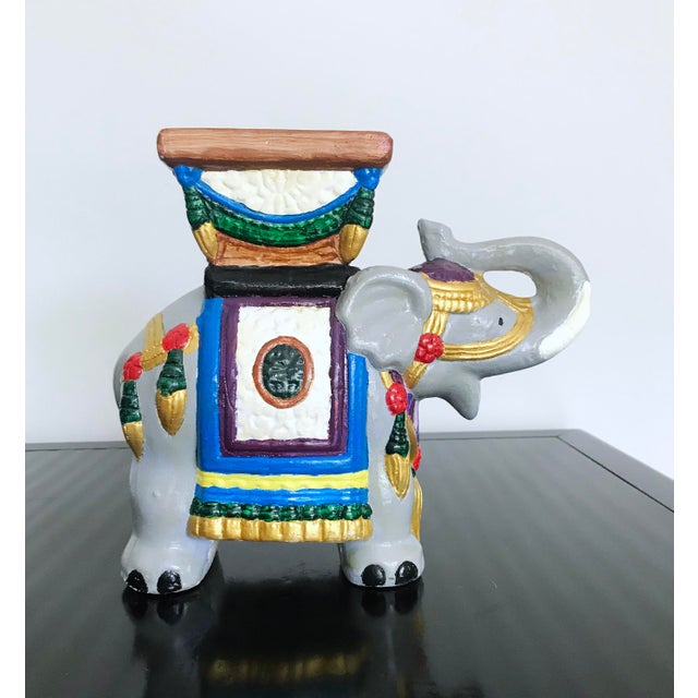 1960s Vintage 1960's Hand-Painted Ceramic Elephant Planter For Sale - Image 5 of 13