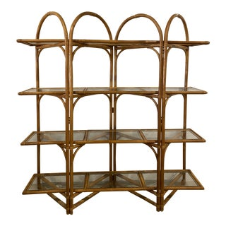 Vintage Palm Beach Rattan Arched Glass Shelves Display Shelf Etagere For Sale