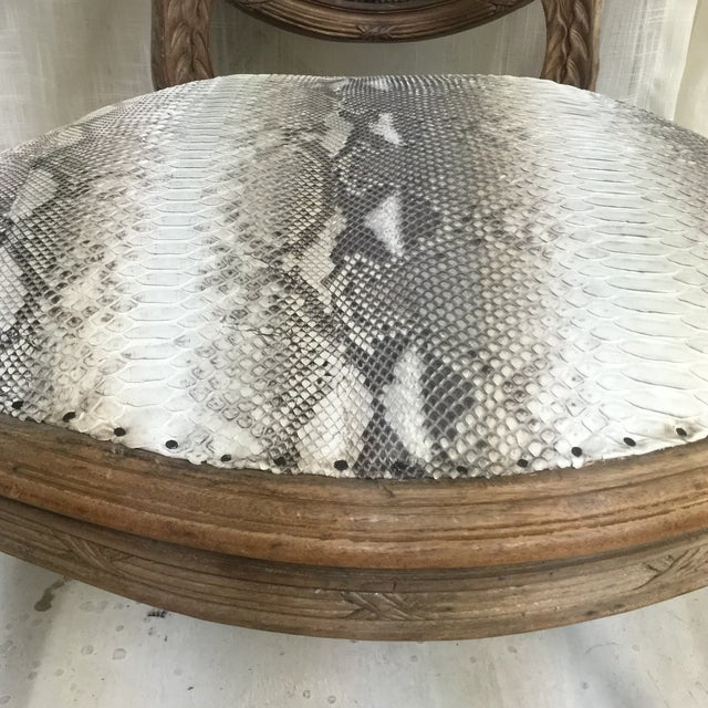 Hollywood Regency Daf House Genuine Python Leather and Swarovski Crystal Arm Chair For Sale - Image 10 of 12