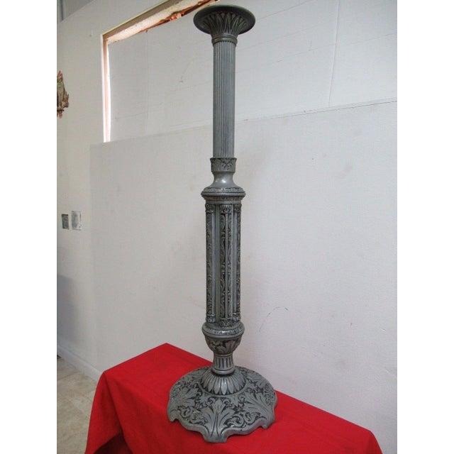 Industrial Antique Aluminum Carved Industrial Regency Pedestal Candle Base For Sale - Image 3 of 10