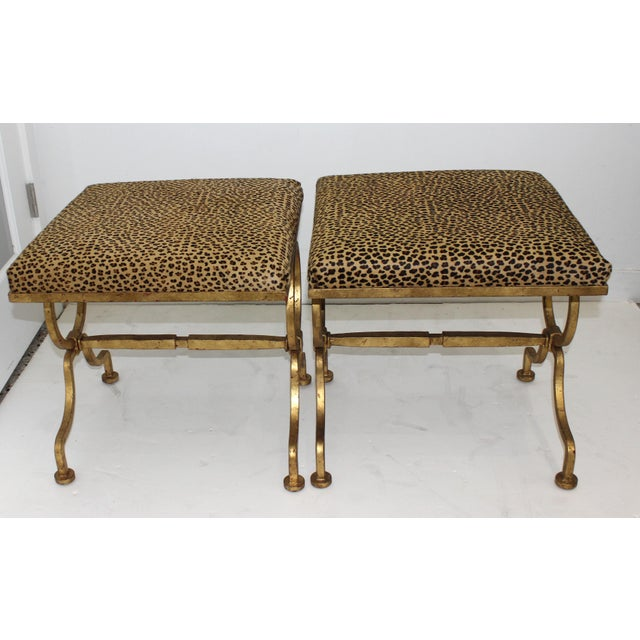 Vintage Arbus Style Gilt Wrought Iron and Faux Leopard Low Stools - a Pair For Sale - Image 4 of 9