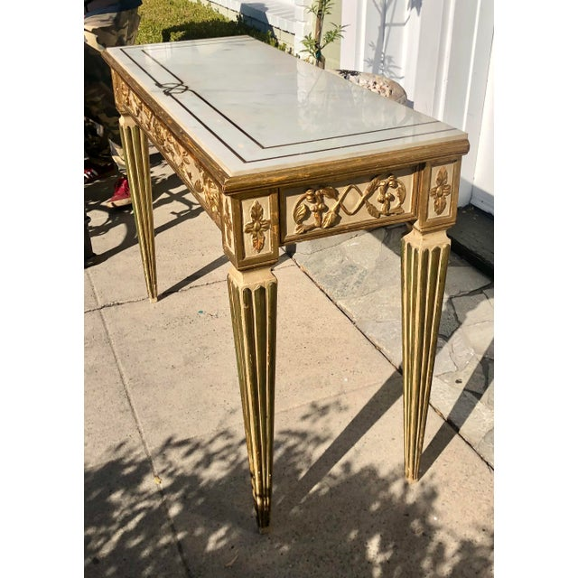 Antique Old Hollywood Cannell & Chaffin Louis XVI Inlaid Italian Marble Console Table For Sale In Los Angeles - Image 6 of 7