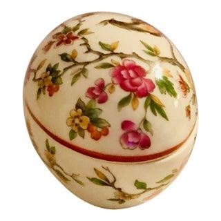 1960s Vintage Limoges Egg Bird Floral Box For Sale