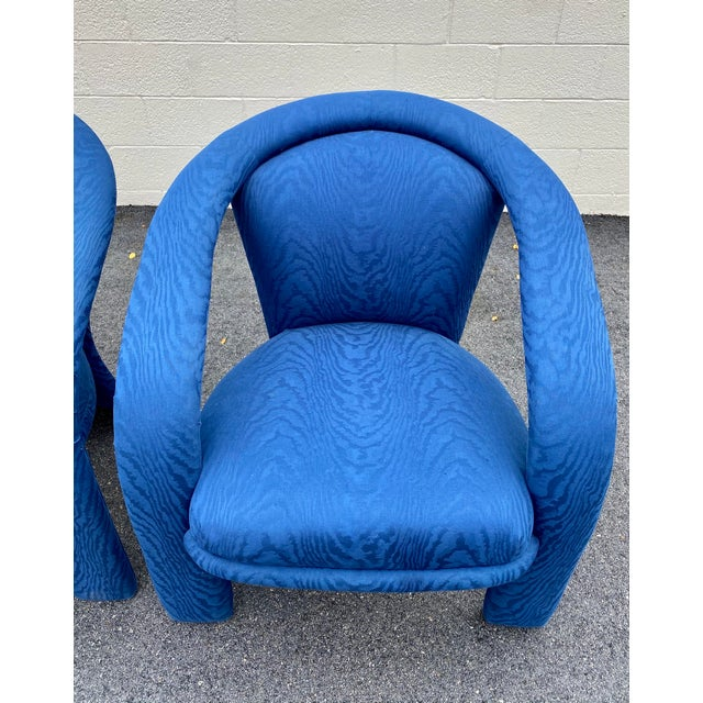 Blue Carson's Blue Upholstred Sculpture Chairs - a Pair For Sale - Image 8 of 12