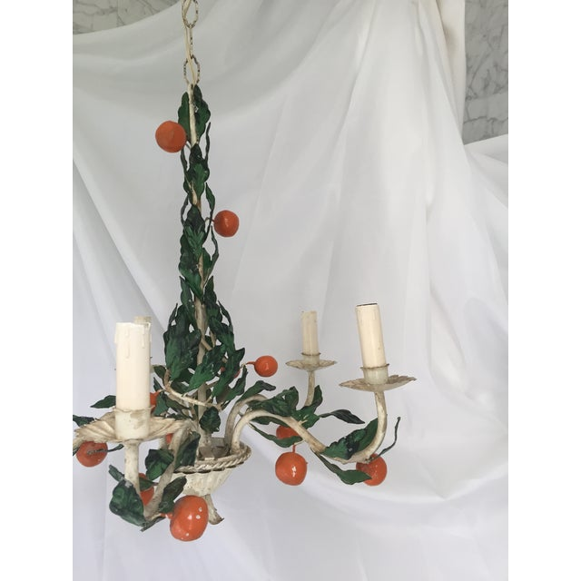 Italian Tole Painted Tangerine 5-Light Chandelier For Sale - Image 4 of 11