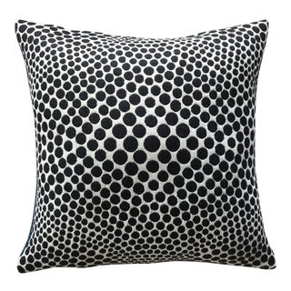 Optic Jewel Black on White Pillow For Sale