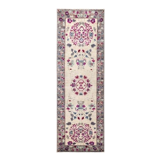 One-Of-A-Kind Patterned & Floral Handmade Runner Rug - 2' 6 X 7' 10 For Sale