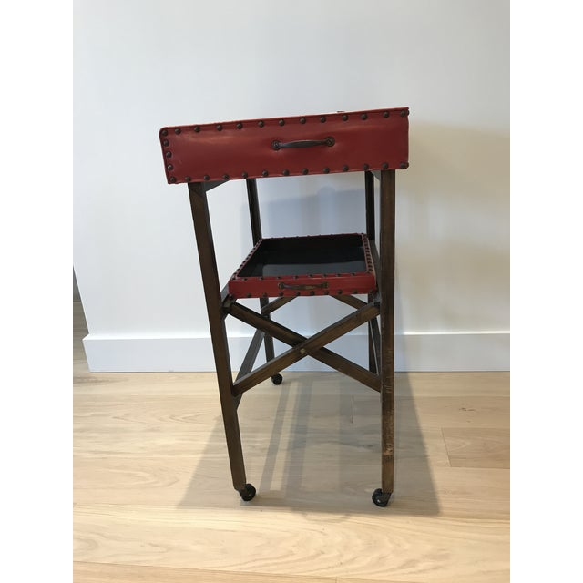 Vintage Leather & Wood Two-Tray Table - Image 3 of 6