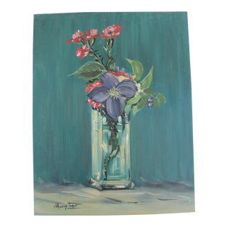 Vintage Acrylic Still Life of Flowers