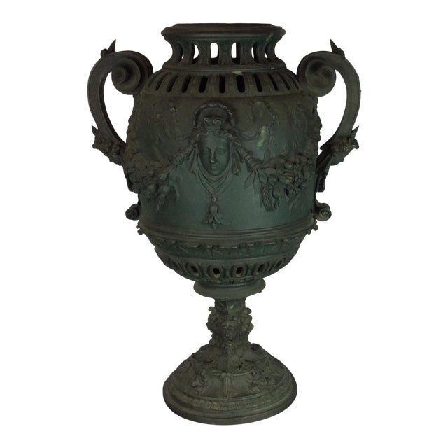 Antique French Carved Bronze Urn For Sale