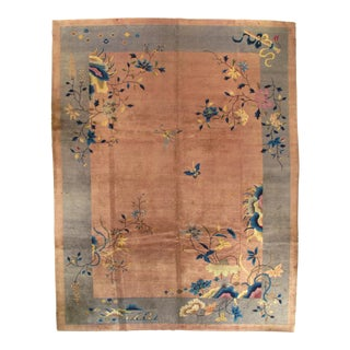 Early 20th Century Antique Chinese Art Deco Area Rug - 8′11″ × 11′6″ For Sale