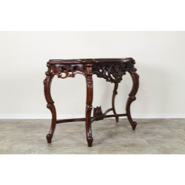Traditional Carved Wood Console Table, Vintage Carved Wood Console For Sale In Miami - Image 6 of 10