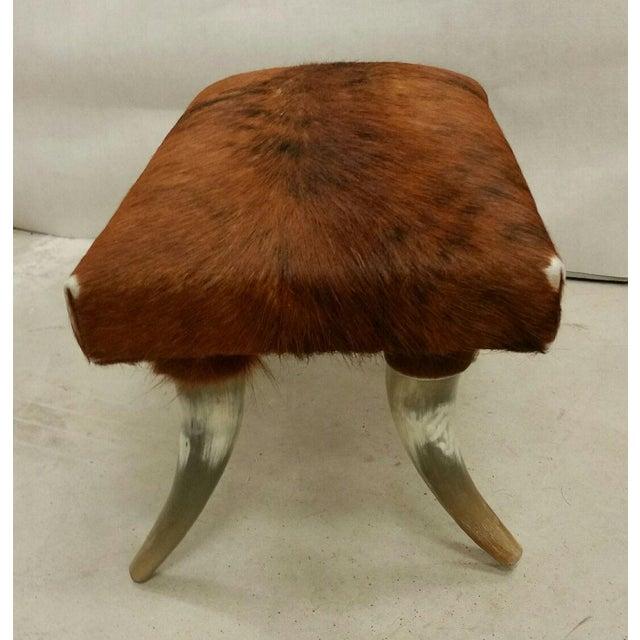 Lodge Longhorn Hide Ottoman For Sale - Image 3 of 3